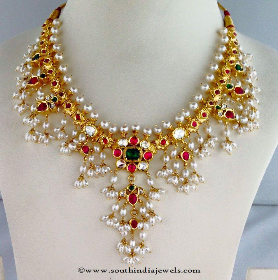 Latest Model Pearl Clustered Necklace South India Jewels