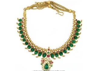 Mango mala with emerald rose cut diamonds