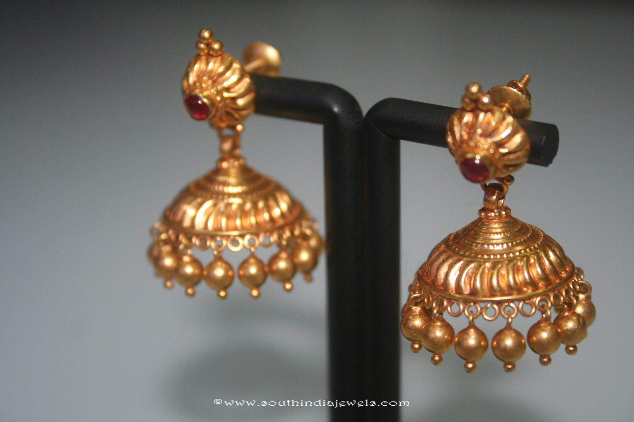 Simple Gold Jhumki From Prakruthi South India Jewels