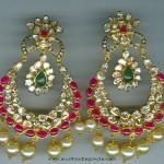Uncut ruby Emerald Chandbali from Vijay Jewellers