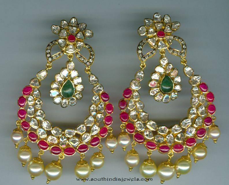 Uncut ruby emerald chandbali from Vijay Jewellers
