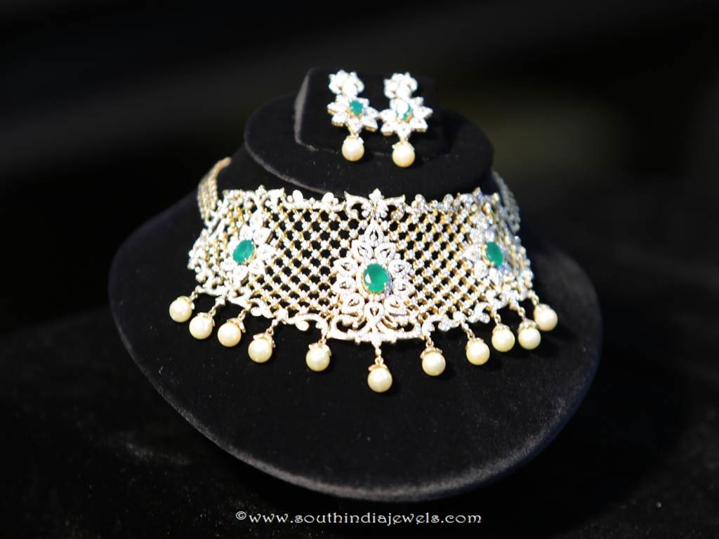 Diamond Emerald Choker Set from Manepally Jewellers