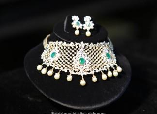 Diamond Emerald Choker Set from Manepally Jewellers