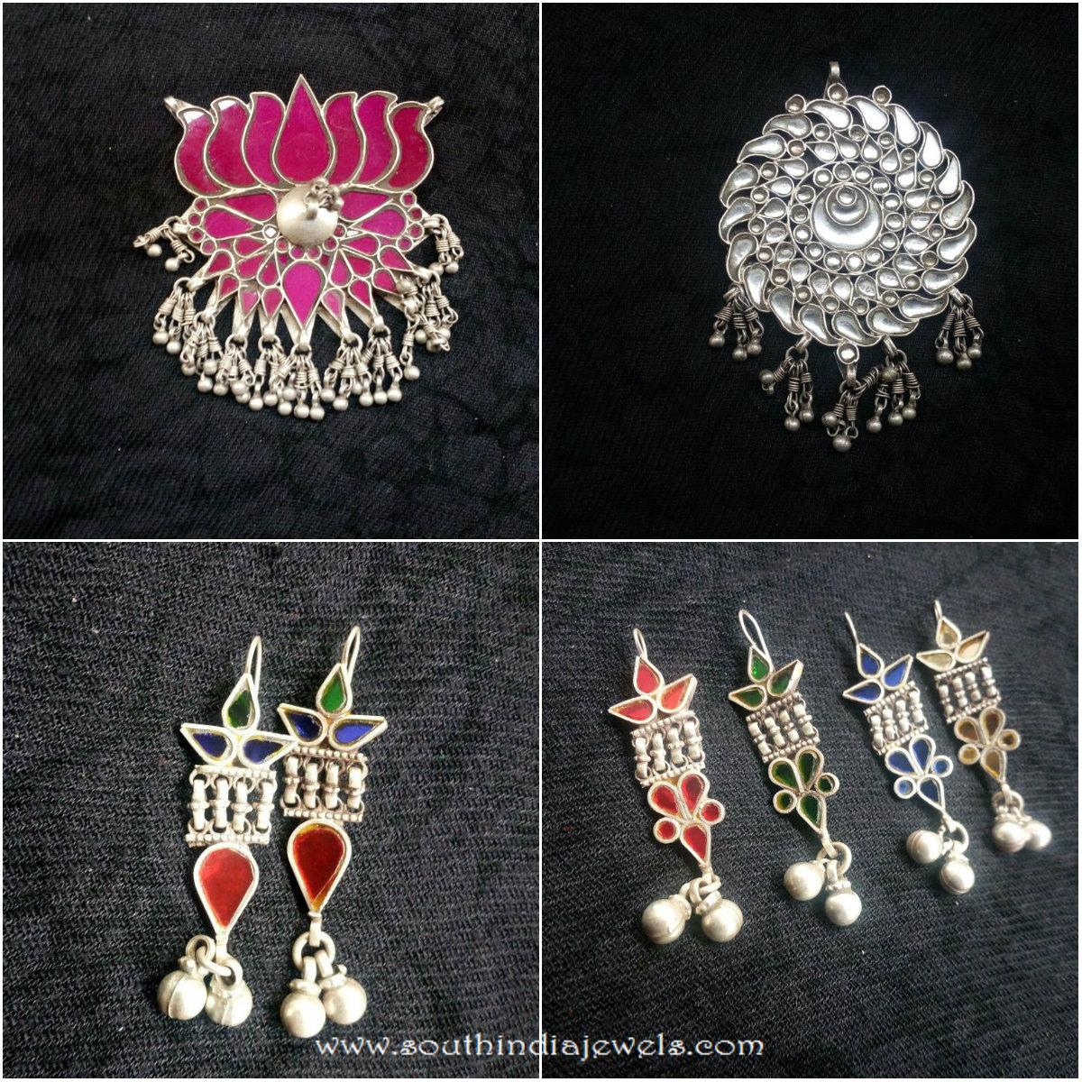 Glass work pendant and earrings south india jewels glass work pendant and earrings aloadofball Images