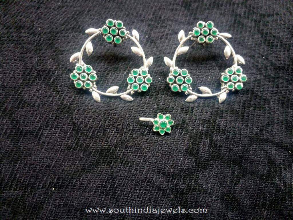 Silver Earrings with matching nosepin