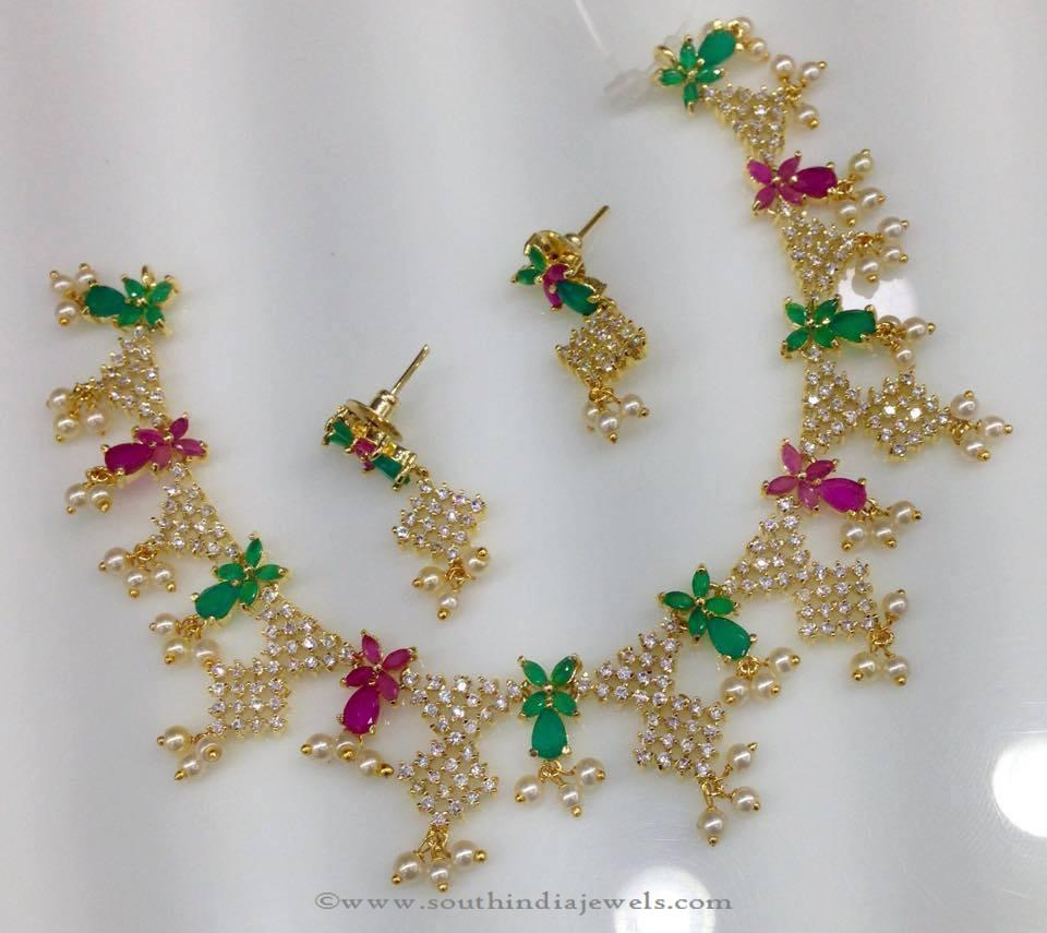 1 Gram Gold CZ Stone Necklace Design ~ South India Jewels