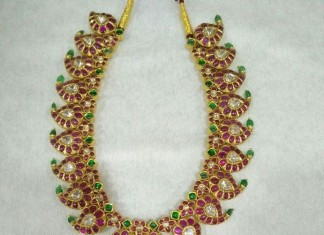 22K Gold Ruby Emerald Mango Necklace Design