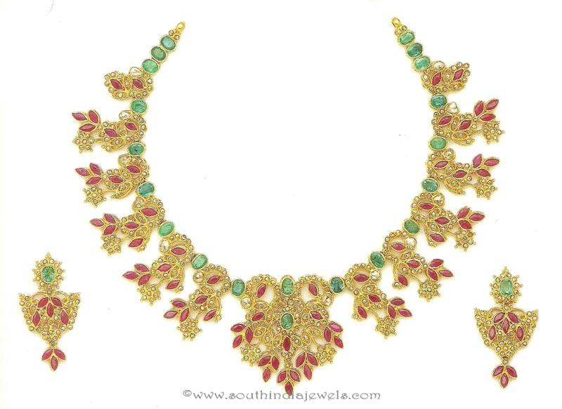 64 Grams Gold Ruby Emerald Necklace