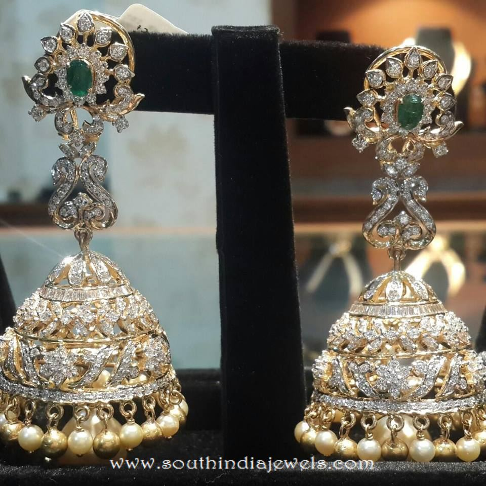 jhumka diamond gold designer earring earrings alva jhumkas s jewels pearl k raj zev