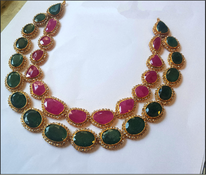 Double Layer Ruby Emerald Necklace
