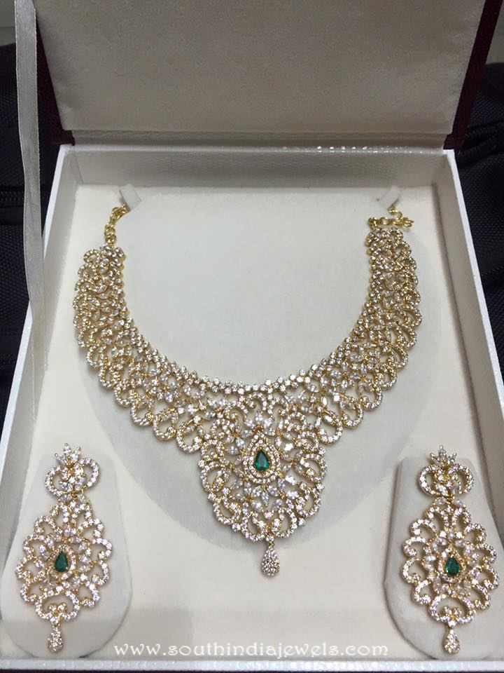 Gold CZ Stone Necklace set from Veerabhadra Jewellery