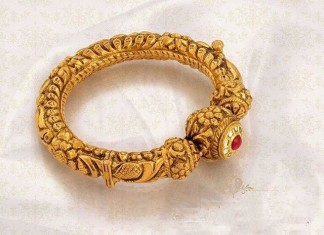 Gold Antique Bangle Design From Jos Alukkas