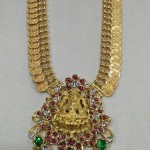 Gold Antique Kasumalai with Lakshmi Pendant