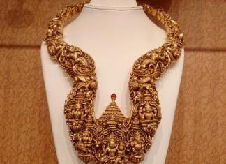 Gold Antique Nakshi Long Necklace from NAJ