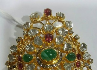 Gold Antique Ruby Emerald Pendant from Sri Balaji Jewellers