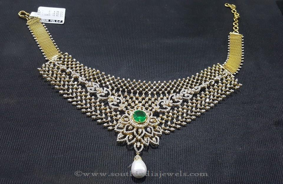 Gold Diamond Emerald Necklace by Sri Balaji Jewellers