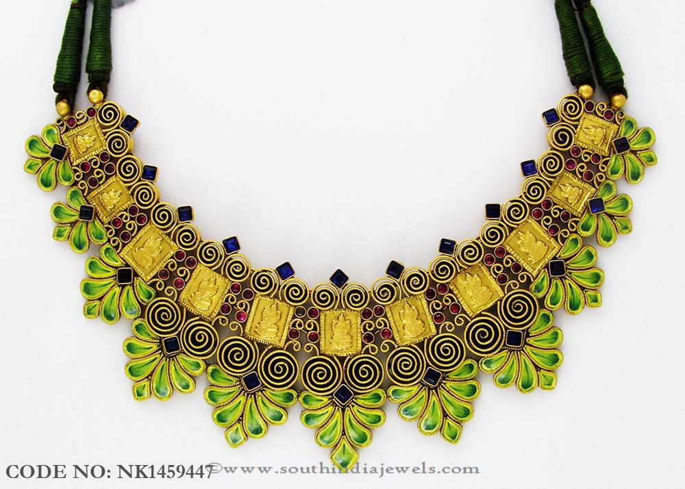 Gold Enamel Choker From Abharan Jewellers