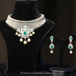 Gold Floral Diamond Necklae From Manepally Jewellery