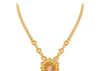 22K Gold Floral Necklace Desgin from Thangamayil