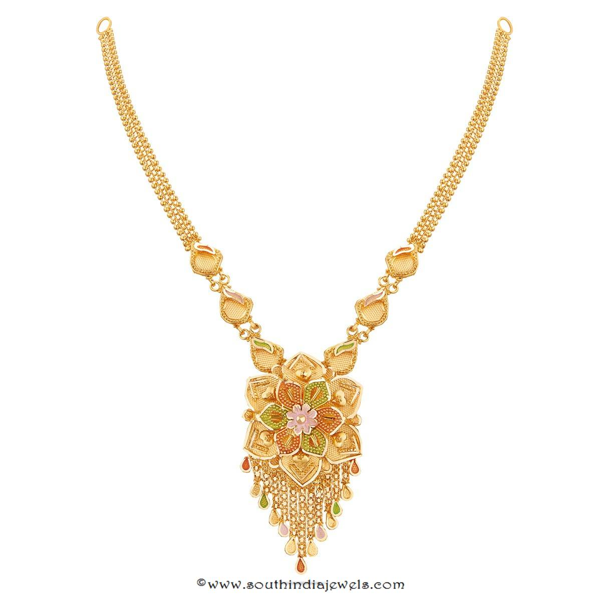 22K Gold Floral Necklace Design from Thangamayil ~ South ...