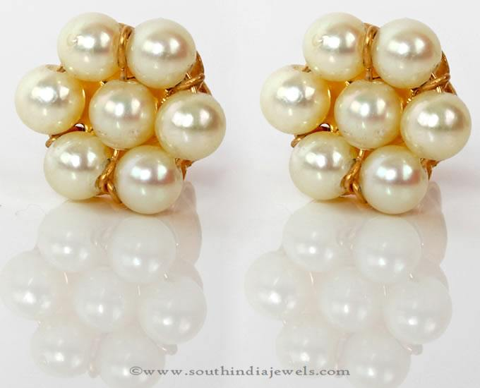 Gold Pearl Ear Studs from PNG Adgil Jewellers