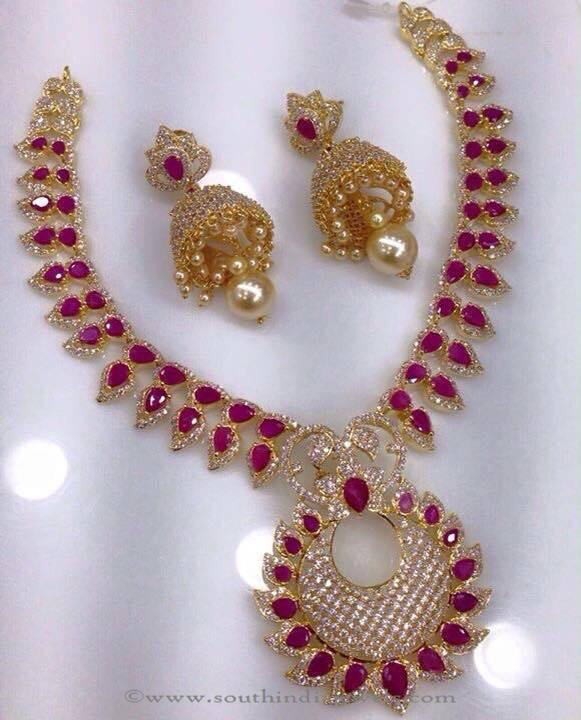 cz stone necklace south india jewels page 3