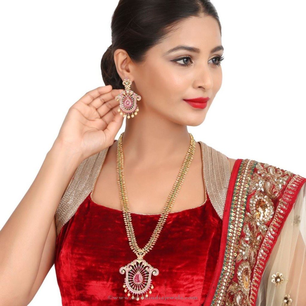 Gold Plated Indian Long Necklace Set