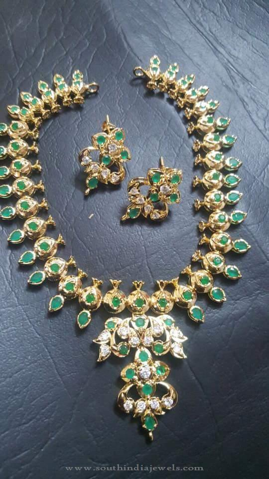 Gold Plated Green Stone Necklace South India Jewels