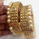 Gold Plated Pearl Bangle Design