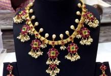 Gold Plated Ruby Guttapusalu Necklace