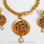 Gold Polki Short Necklace Model