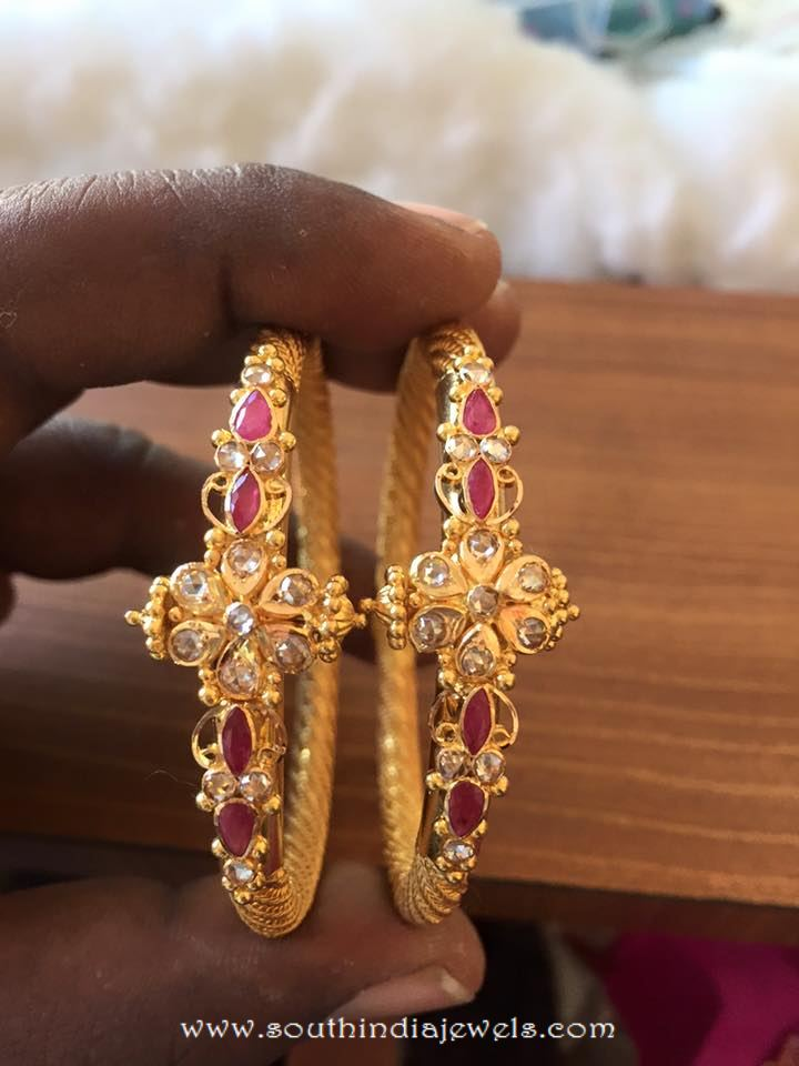 Gold Ruby Bangles From Veerabhadra Jewellery