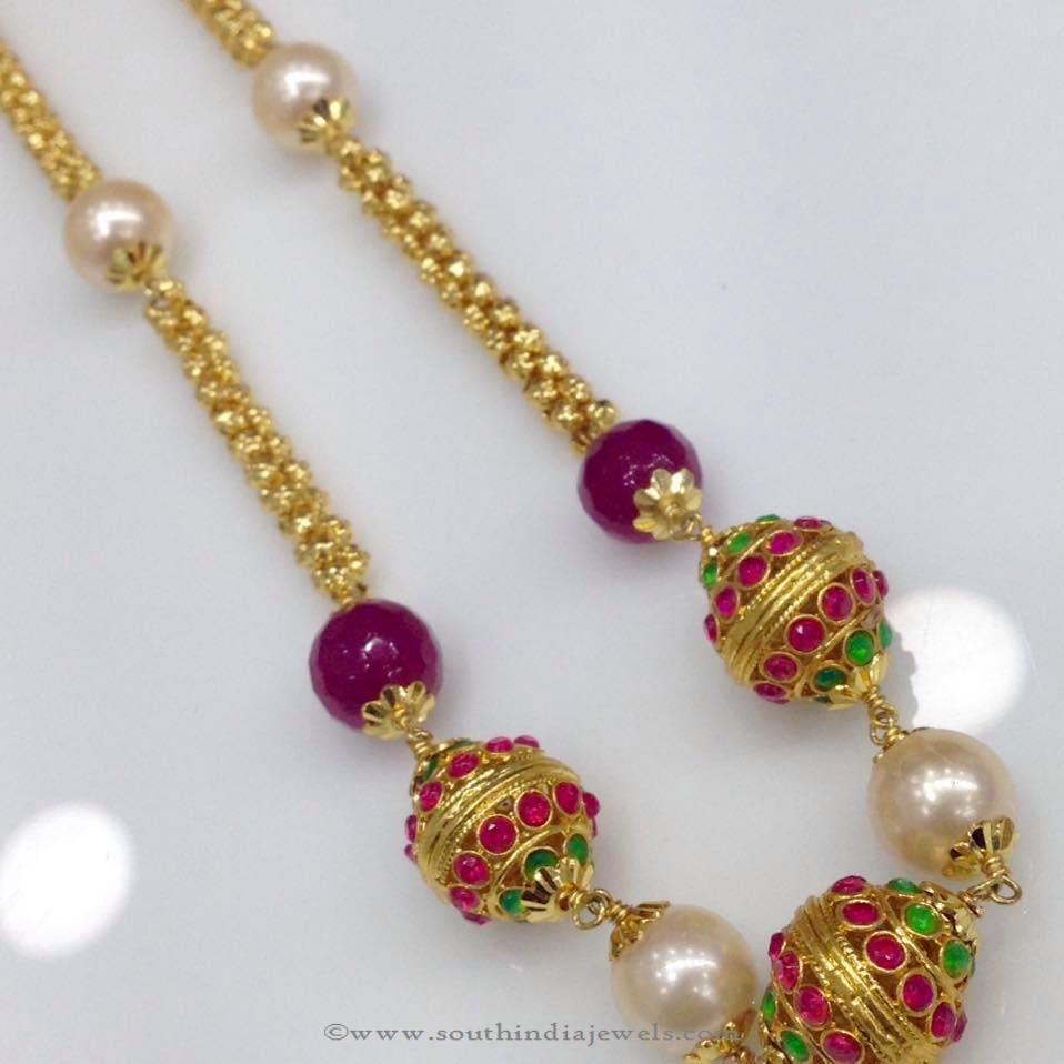 Gold Ruby Emerald Stone Chain Necklace from Swarnakshi