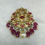 Gold Ruby Kundan Pendant