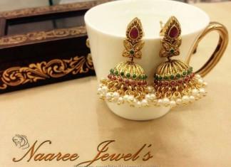 Imitation Kemp Pearl Jhumka from Sangita Creation