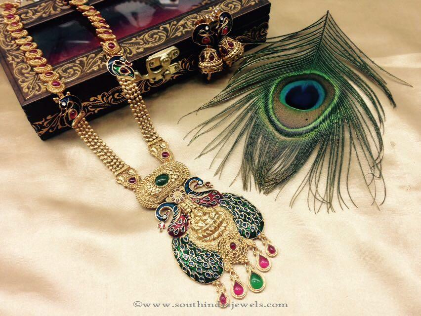 Imitation Peacock Long Haram Set from Sangita Creation