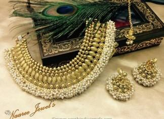 Imitation Pearl Choker with Jhumka