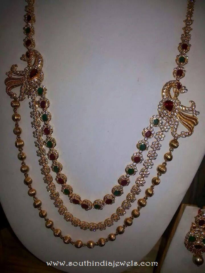 Multi layer peacock necklace set from VRAJ Jewellers