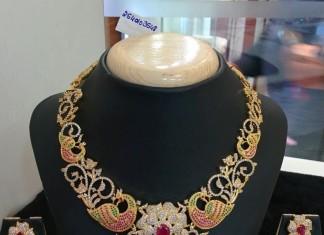 1 Gram Gold Bridal Stone Necklace from Vanathi