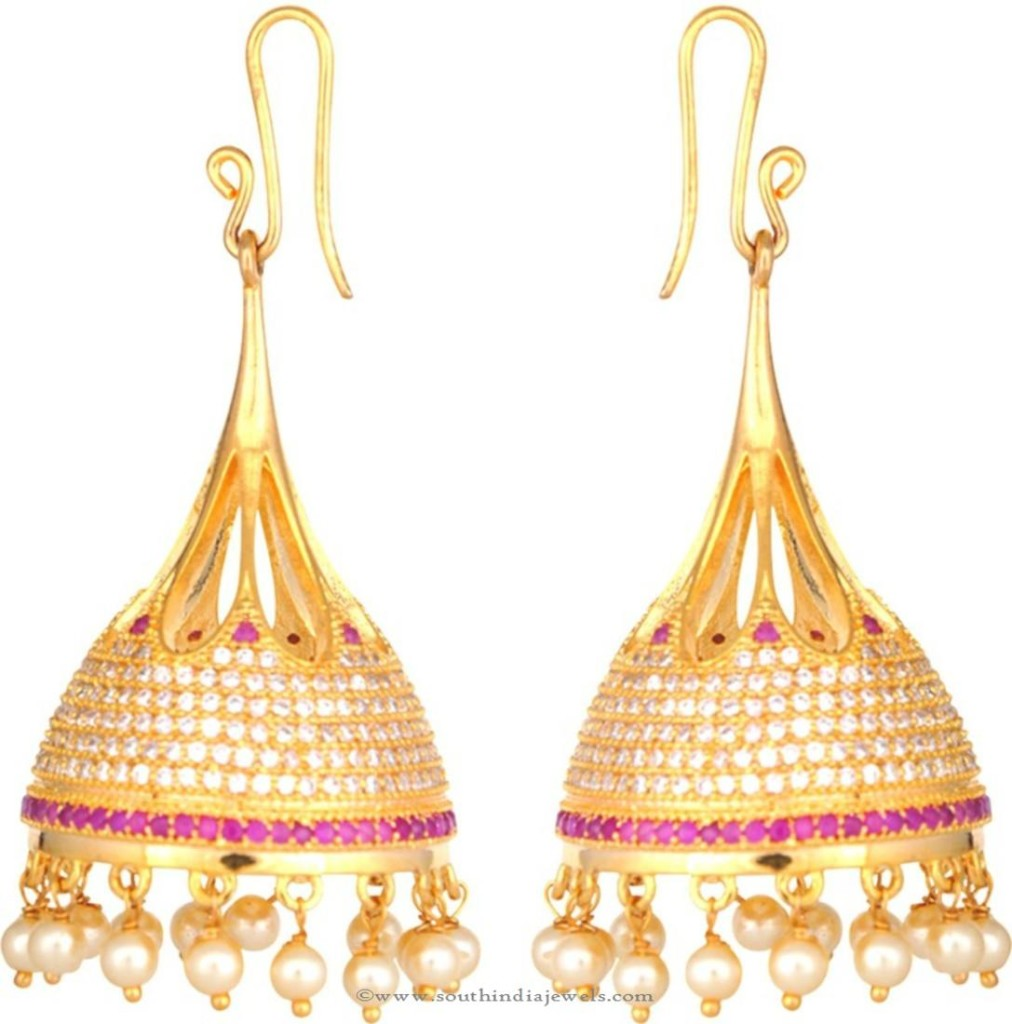One Gram Gold Hoop Jhumka Earrings Earrings