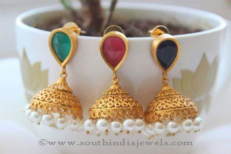 bbb860bcd2753 Matt Finish One Gram Gold Jhumkas ~ South India Jewels