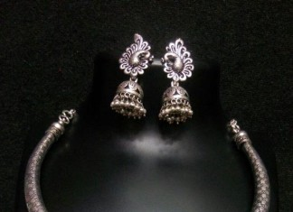 Oxidized Silver Necklace with Jhumka