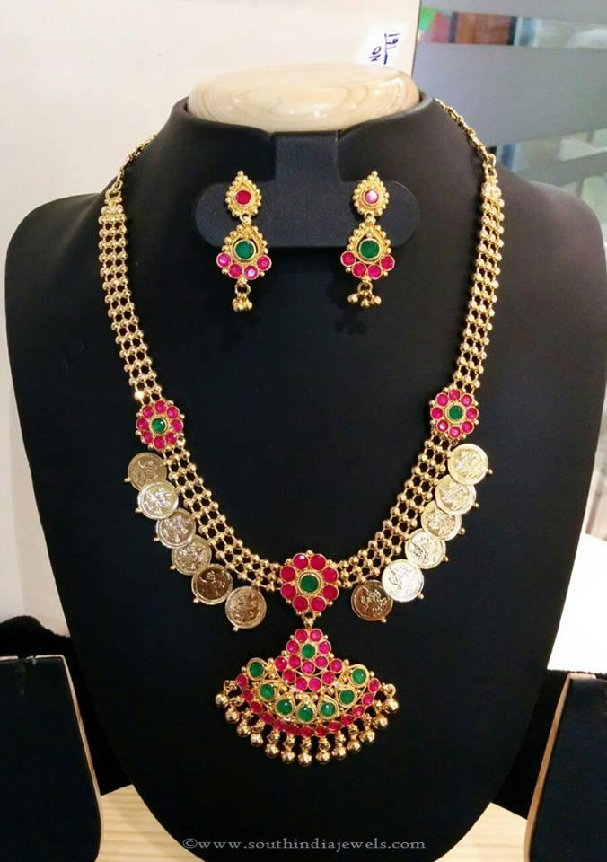 Gold Plated Kasumalai Necklace Set from Vanathi