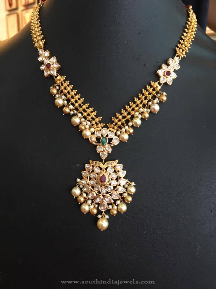 22K Gold STone Necklace with Pearls