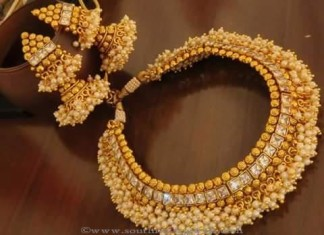 Antique pearl choker with jhumkas