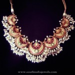 Gold Antique Pearl Ruby Necklace