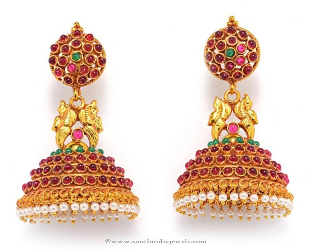 Antique Ruby Jhumka Earrings South India Jewels