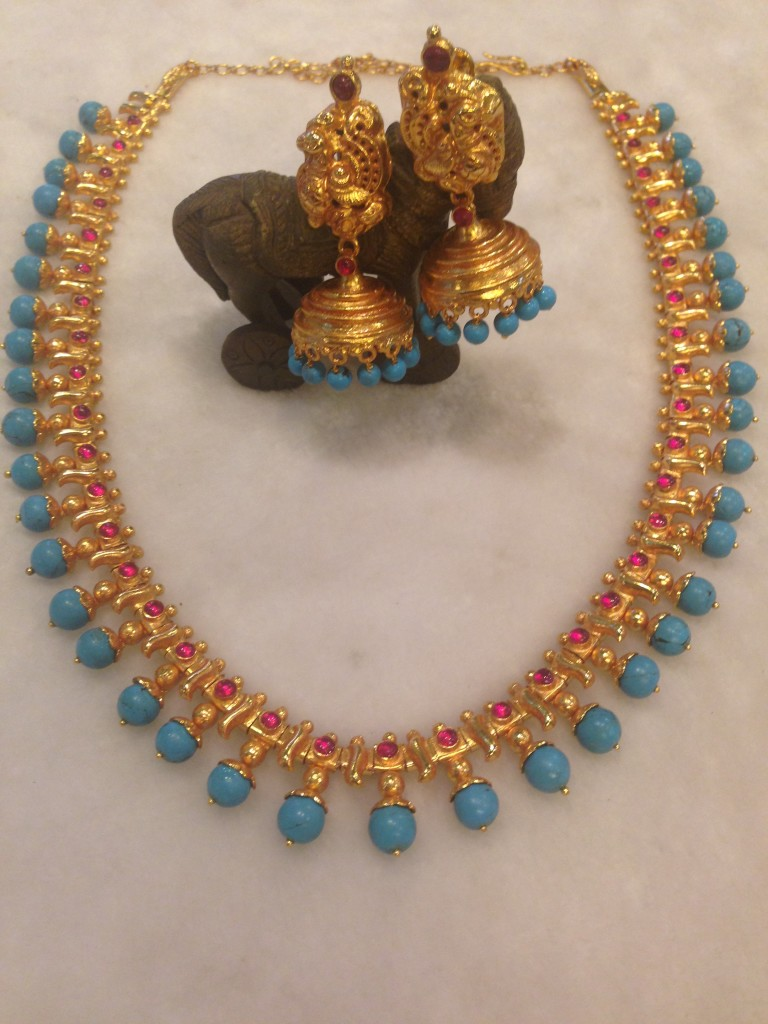 Antique turquoise haram set south india jewels for Indian jewelry queens ny