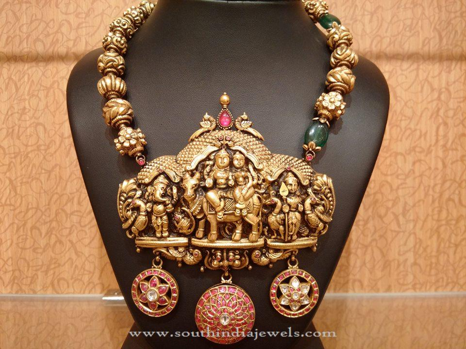 antique south india from temple gold big jewels necklace naj