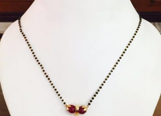 Black Beaded Chain with Ruby Pendant